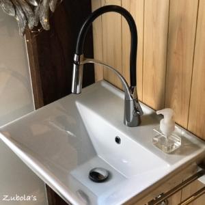 水栓はハンドシャワータイプしか考えられない。イケア:ALESKÄR&サンワカンパニー:アクト