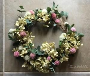 """""""普段着""""のラフなリース。~昔シロツメクサの花をリースにしたように~"""